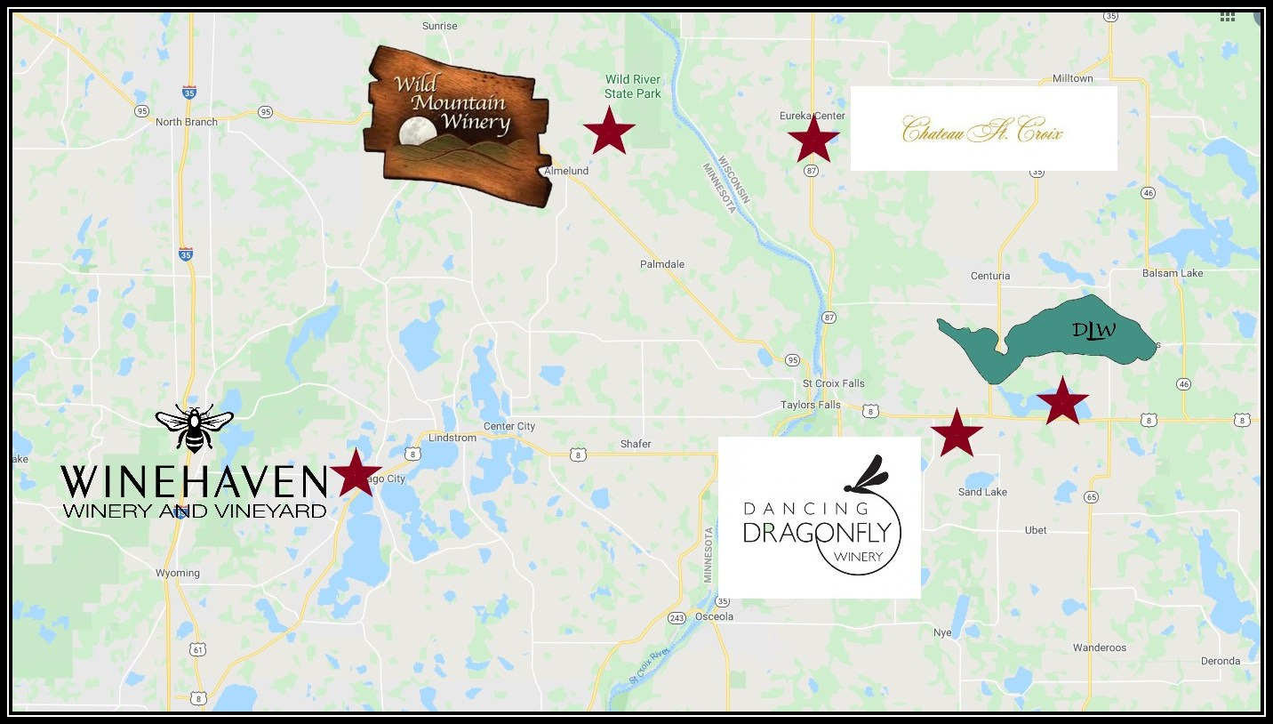 Northern Wine Trail Map Renee's Limousine, Minneapolis Minnesota